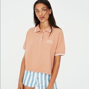 Pull & Bear pink polo crop shirt